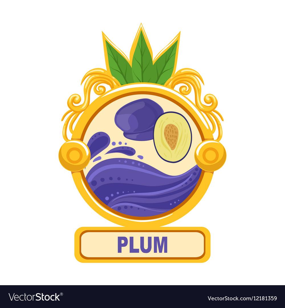 Plum Bright Color Jam Label Sticker Template In Vector Image