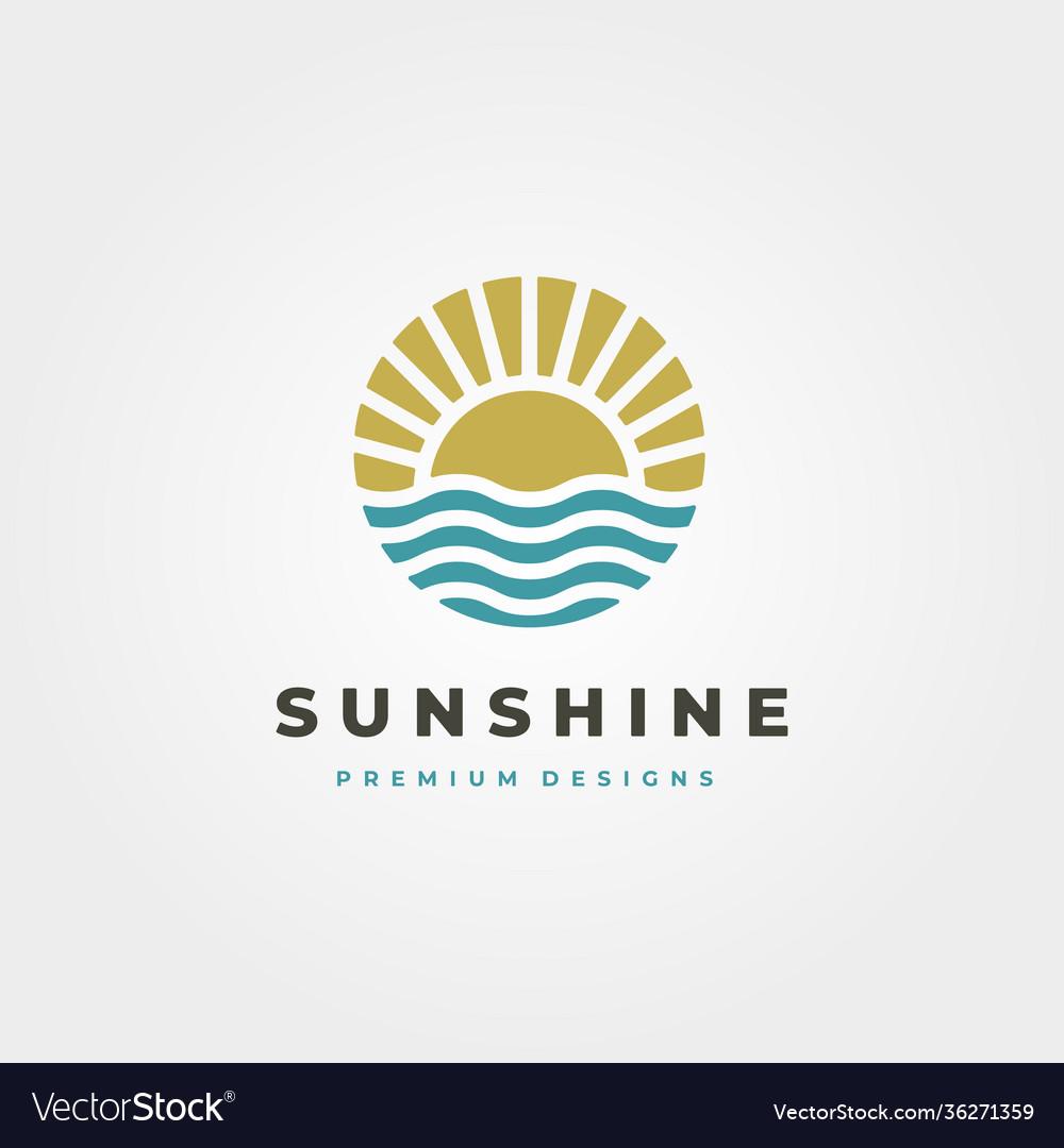 Sun and waves icon logo symbol design sun vintage