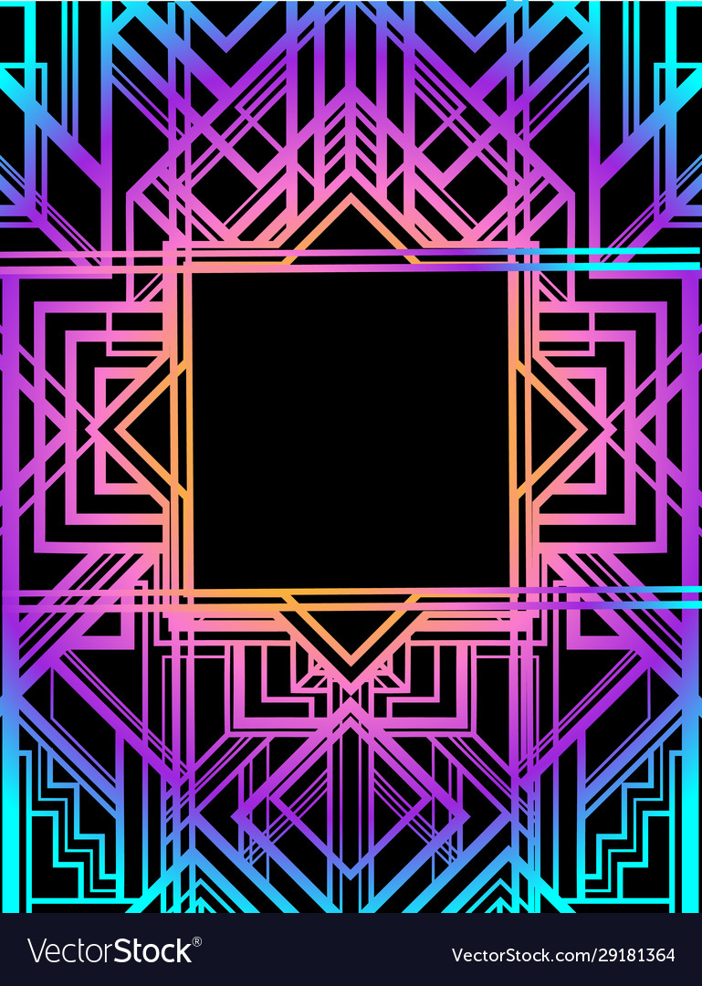 Art deco vintage pattern in bright neon colors