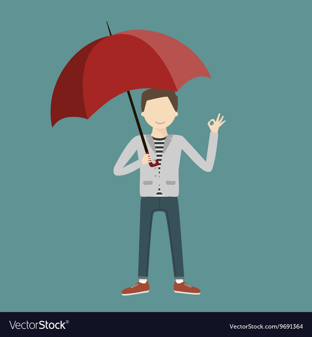 Business Man Holding a Parasol vector image