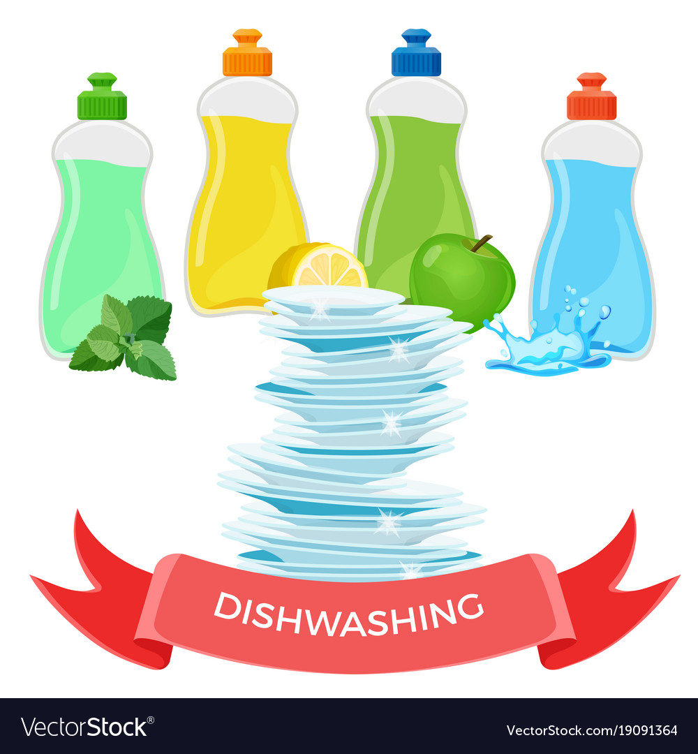 Dishwashing liquid means and pile of clean shiny