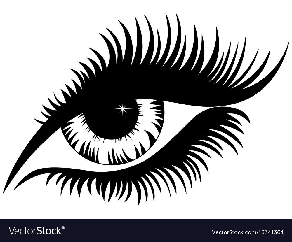 female eye black silhouette royalty free vector image rh vectorstock com vector eye chart vector eye care