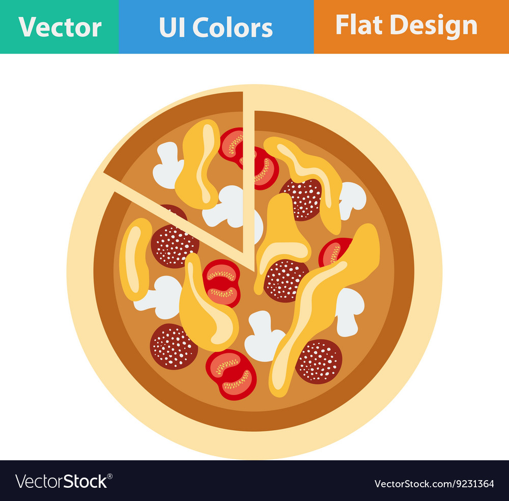 Flat design icon of Pizza on plate