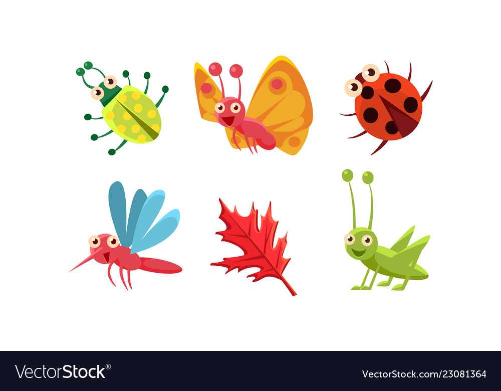 Flat set of cute insects and red leaf