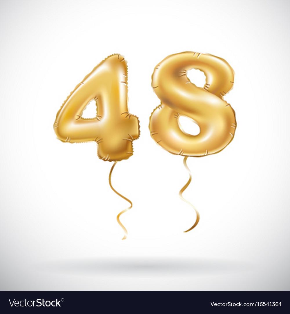 Golden number 48 forty eight metallic balloon