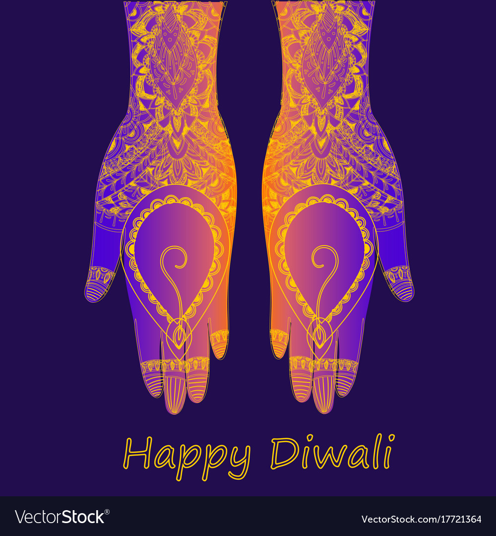 Hands holding indian diya diwali festival