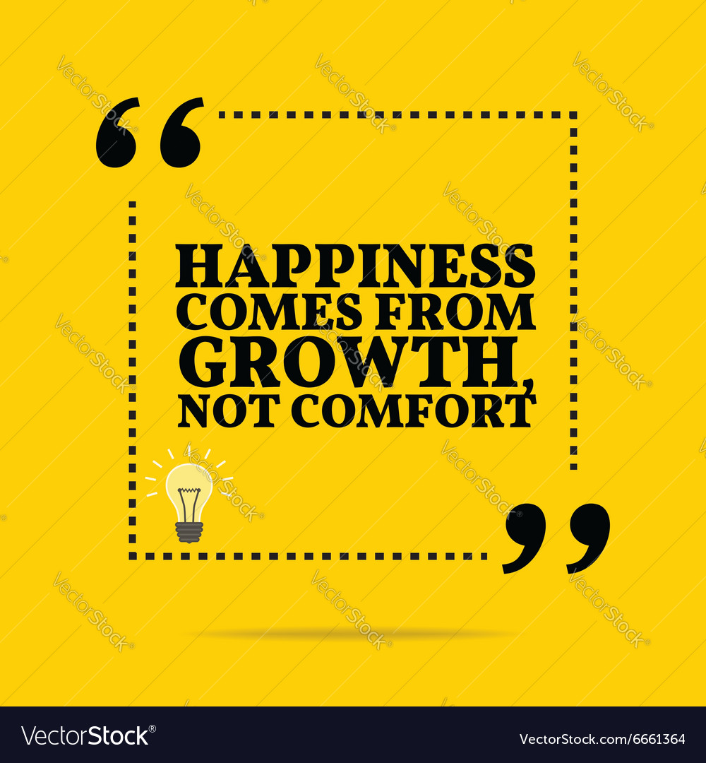 inspirational motivational quote happiness comes vector image