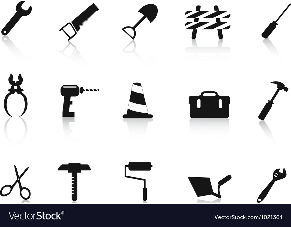 Set of black Construction hand tool icon