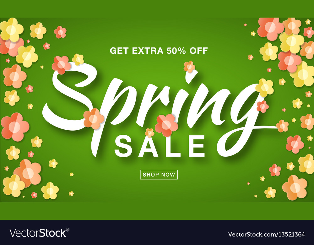 Spring sale banner background with paper flowers