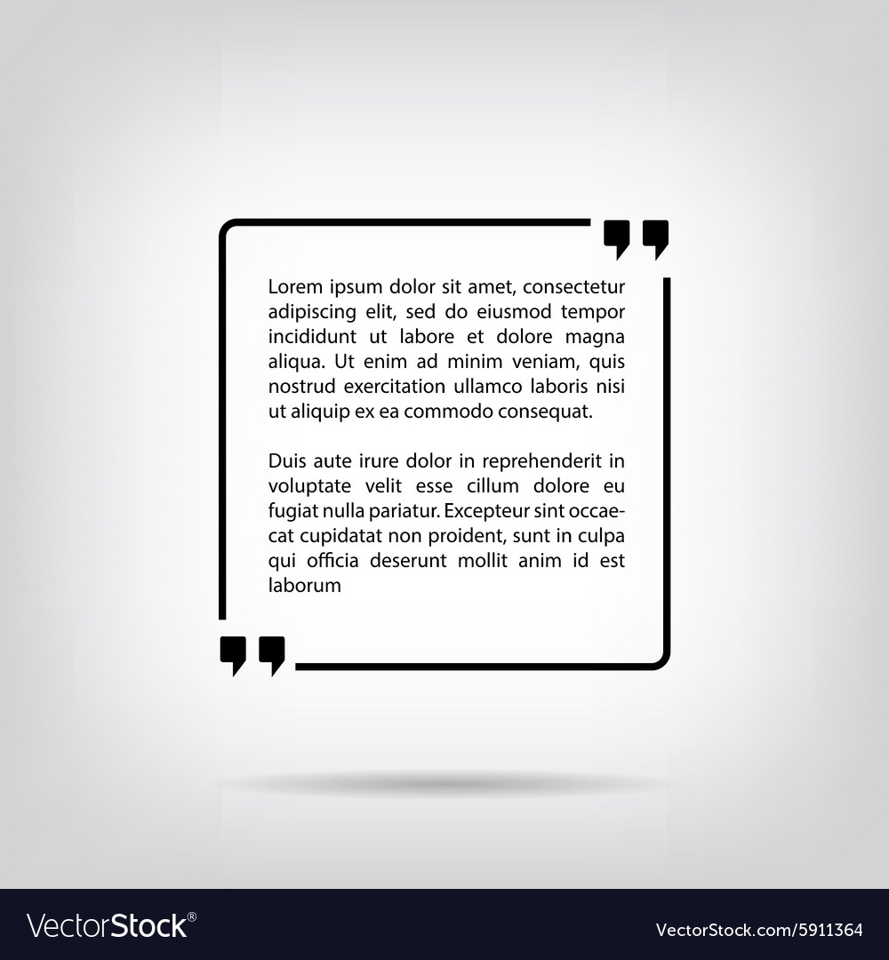 Text quote bubble square white background with