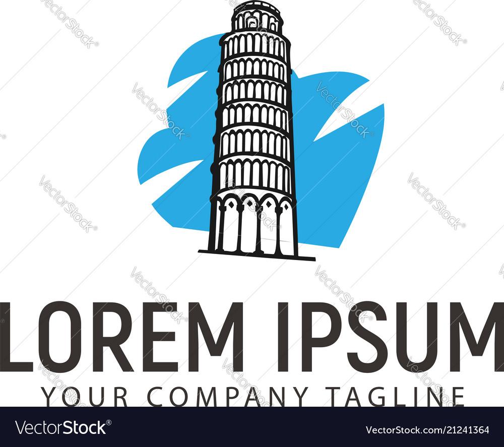 Tower of pisa logo hhand drawn design concept
