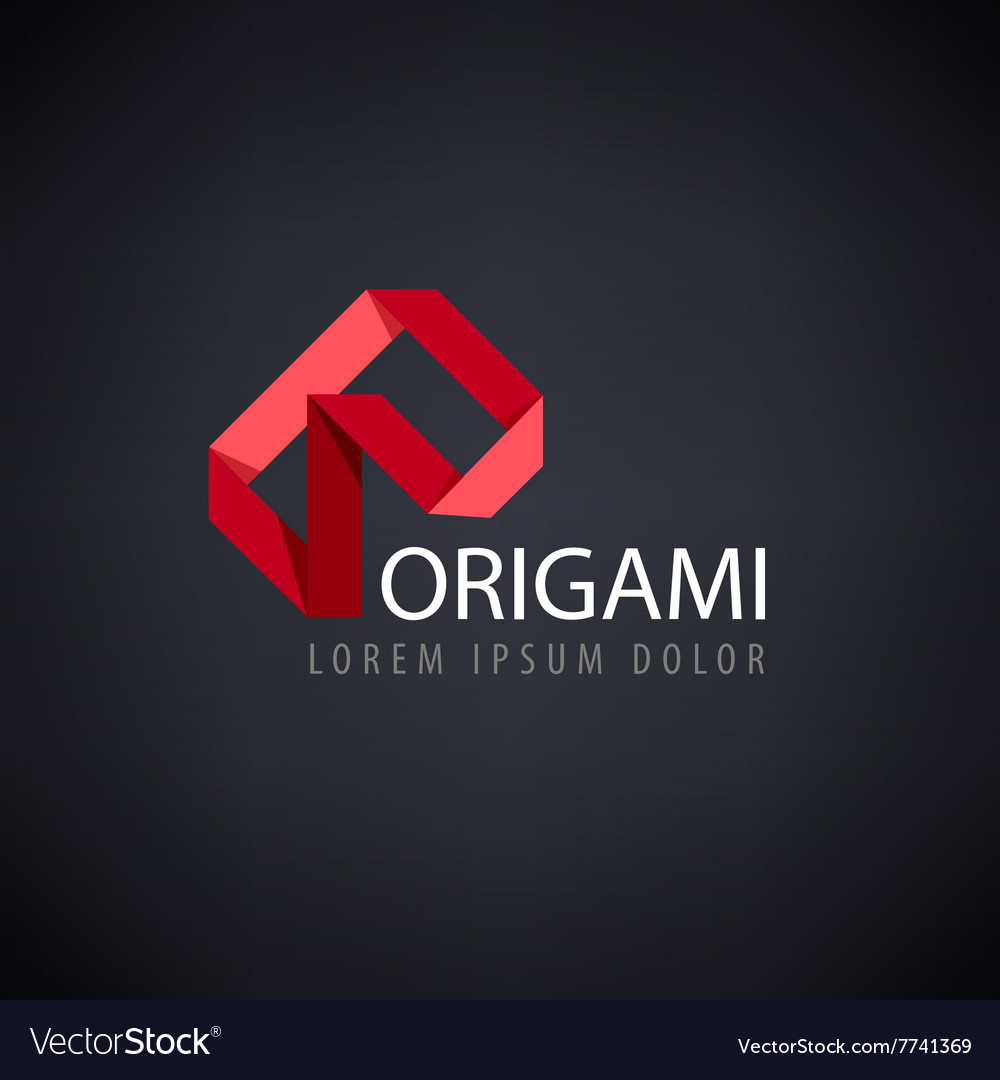 Abstract red logo origami
