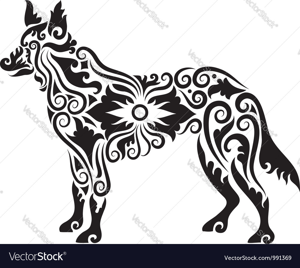 Dog tattoo 2 vector image