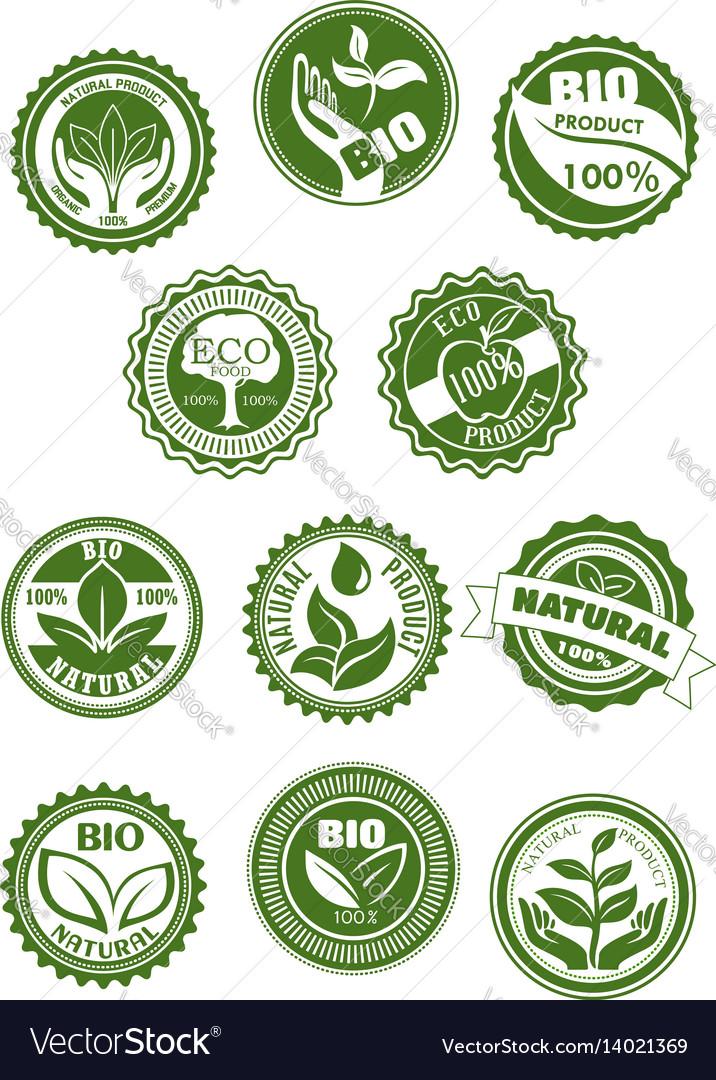 Eco green natural bio organic product symbol set