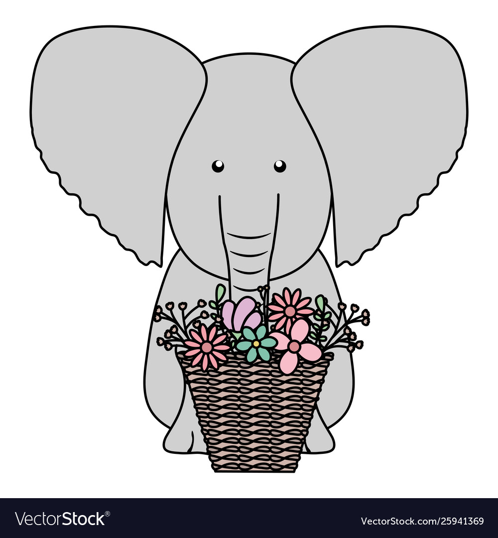 Elephant with floral basket bohemian style