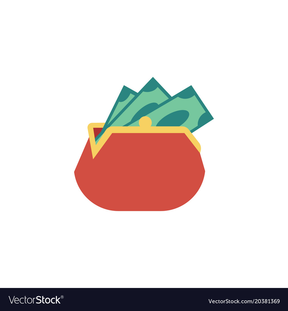 Flat red wallet purse dollar money banknote vector image