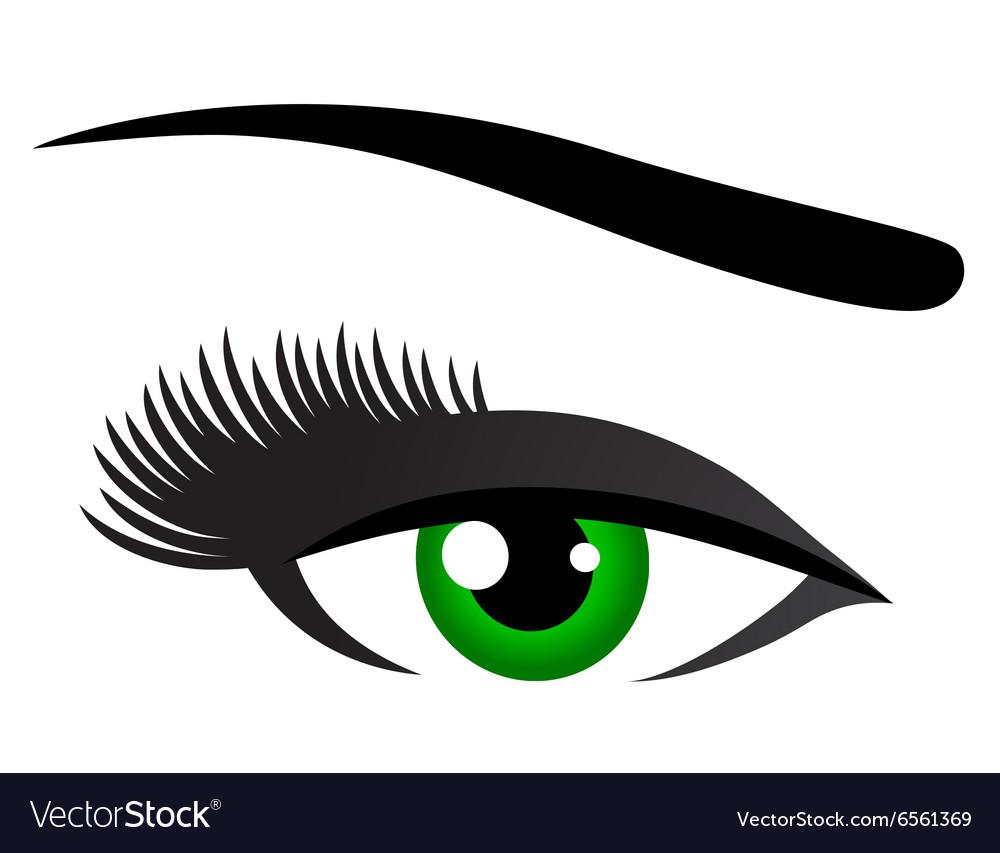 Green eye with long eyelashes
