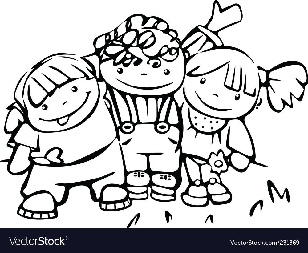 Happy children vector image