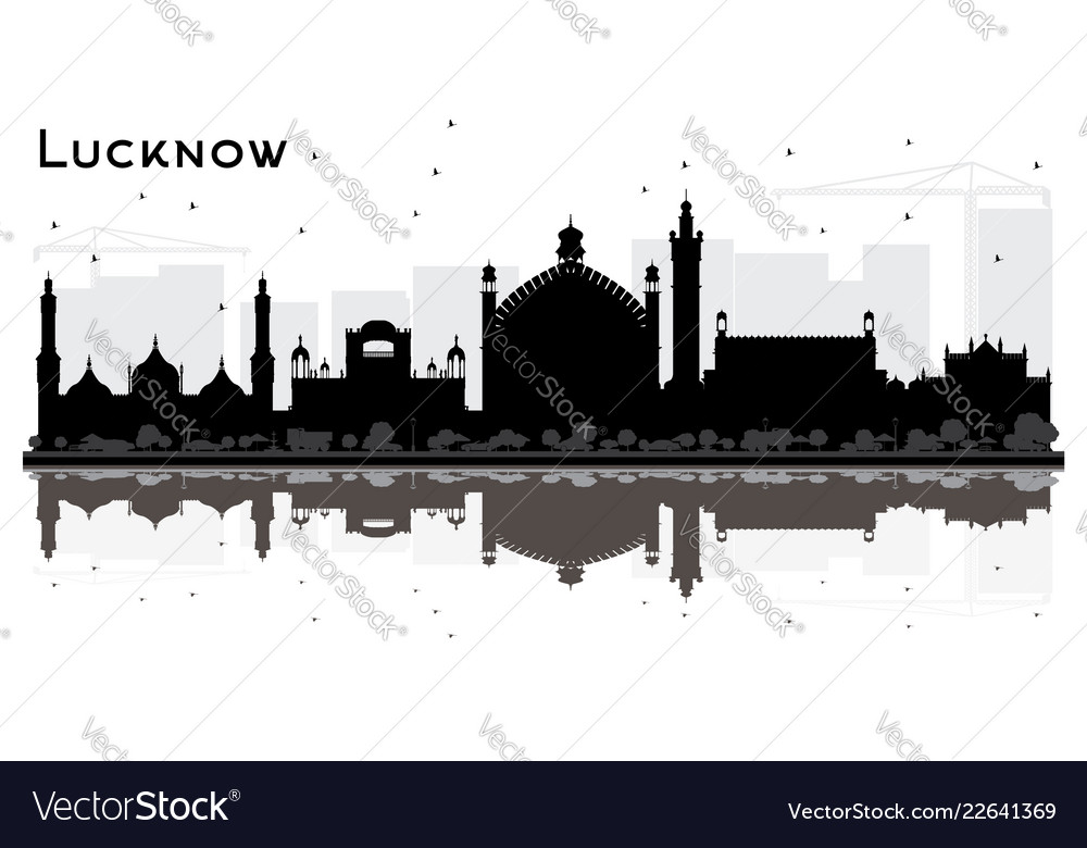 Lucknow india city skyline silhouette with black