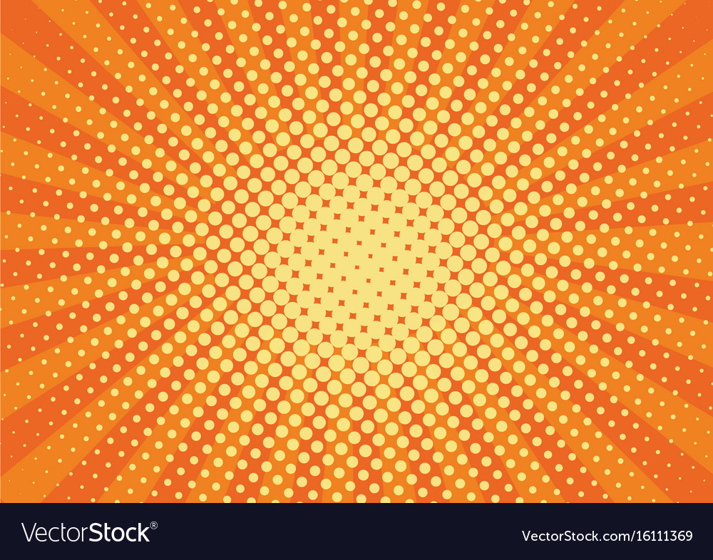 Orange yelow rays and dots pop art background