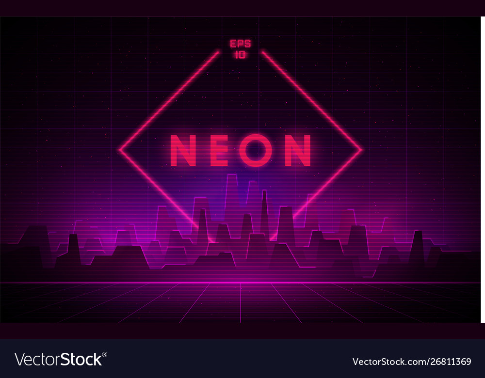 Retrowave night city with laser grid and big neon