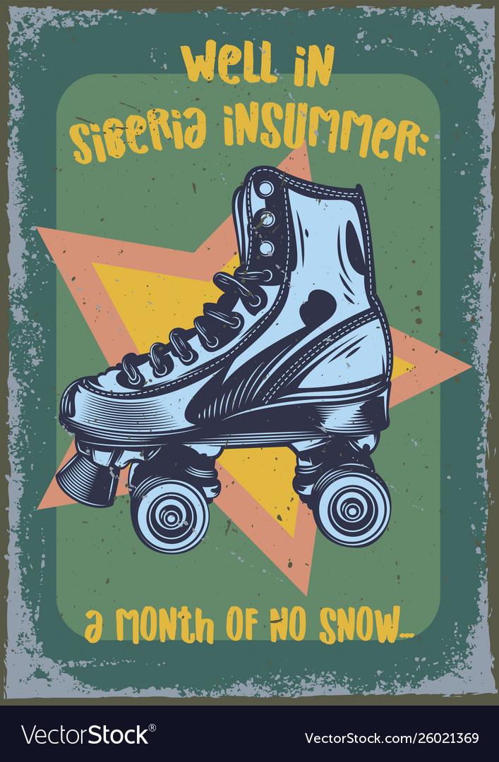 Roller-skaters on vintage background