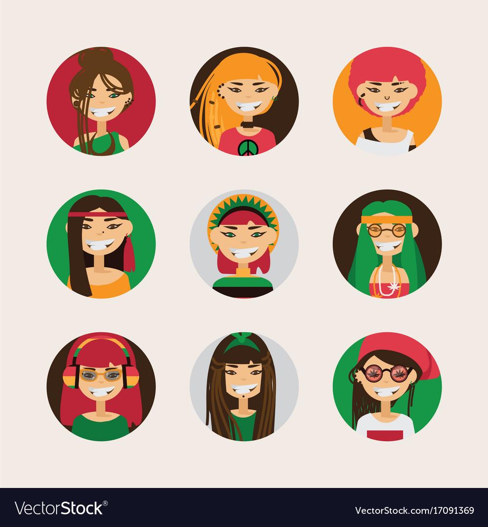 User avatars of cute rastafarian girls with