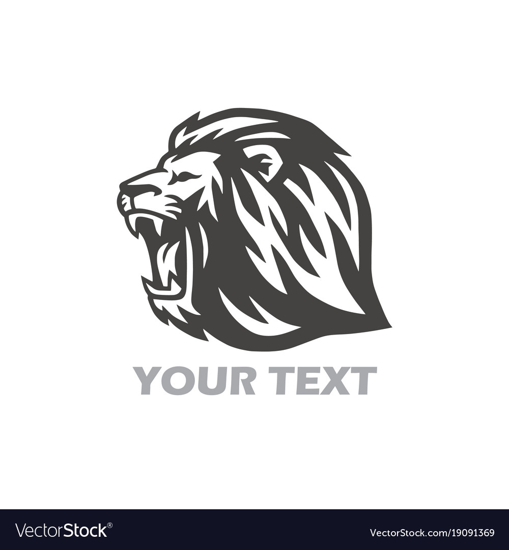 Wild lion head logo design vector image