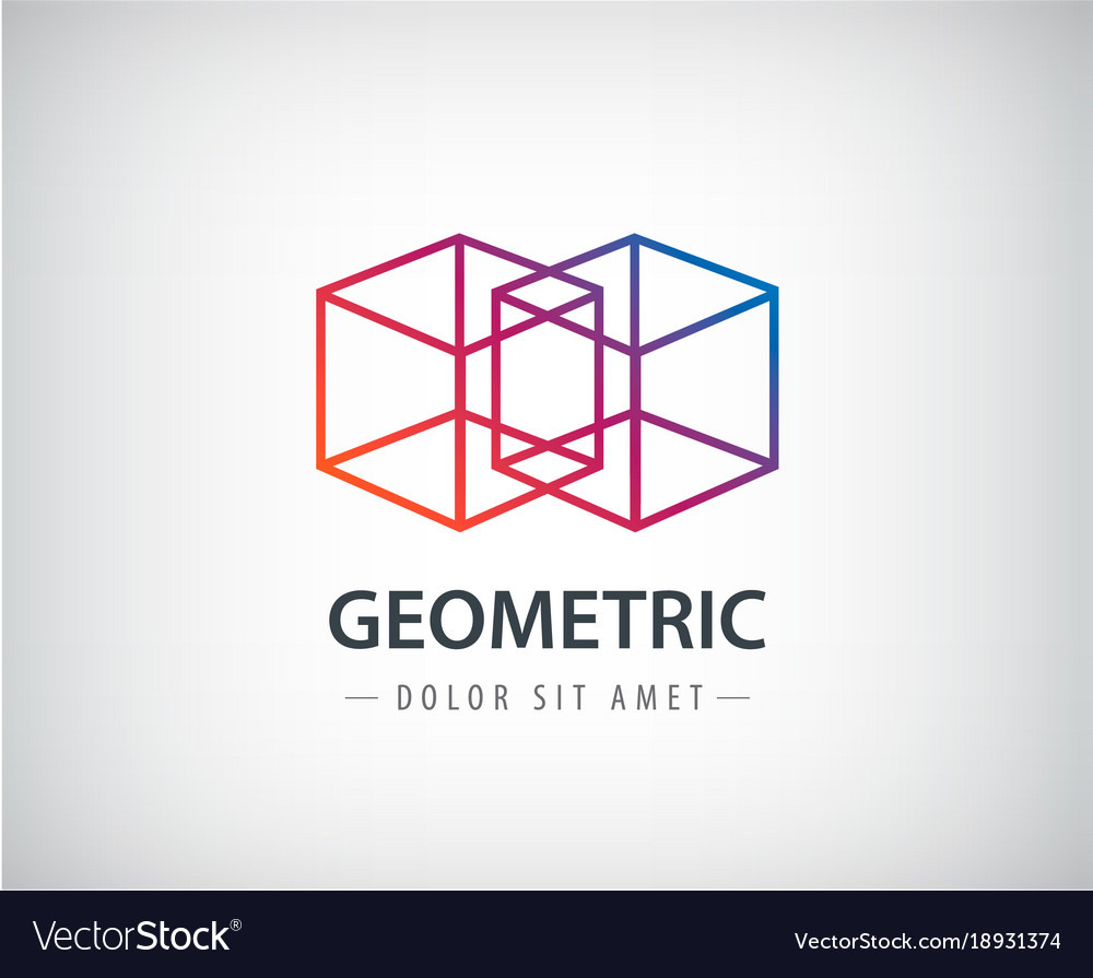 Abstract geometric linear logo two cubes