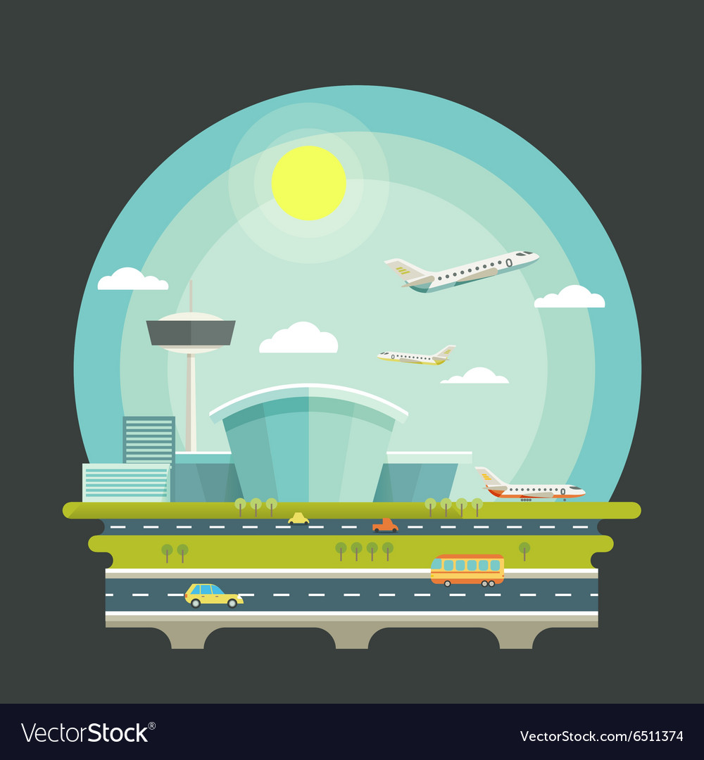 Airport with planes or aircrafts in flat design
