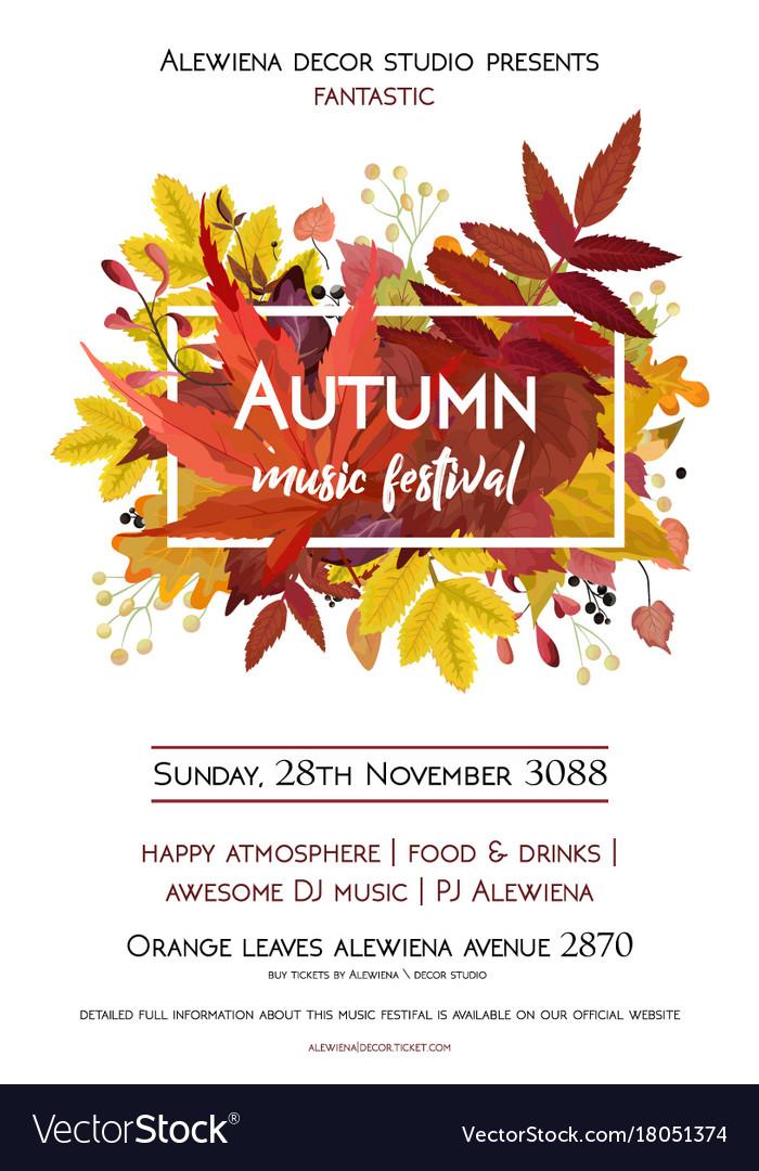 Autumn season party festival invite poster banner vector image