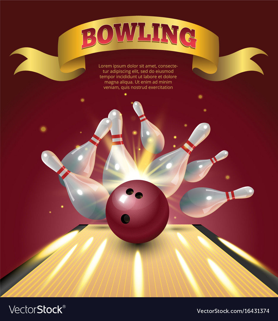 Bowling club poster with realistic ball and