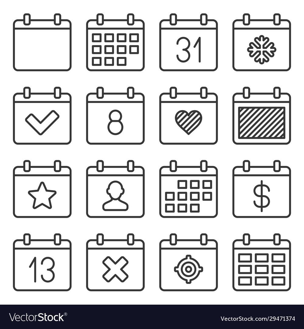 Calendar icons set on white background line style