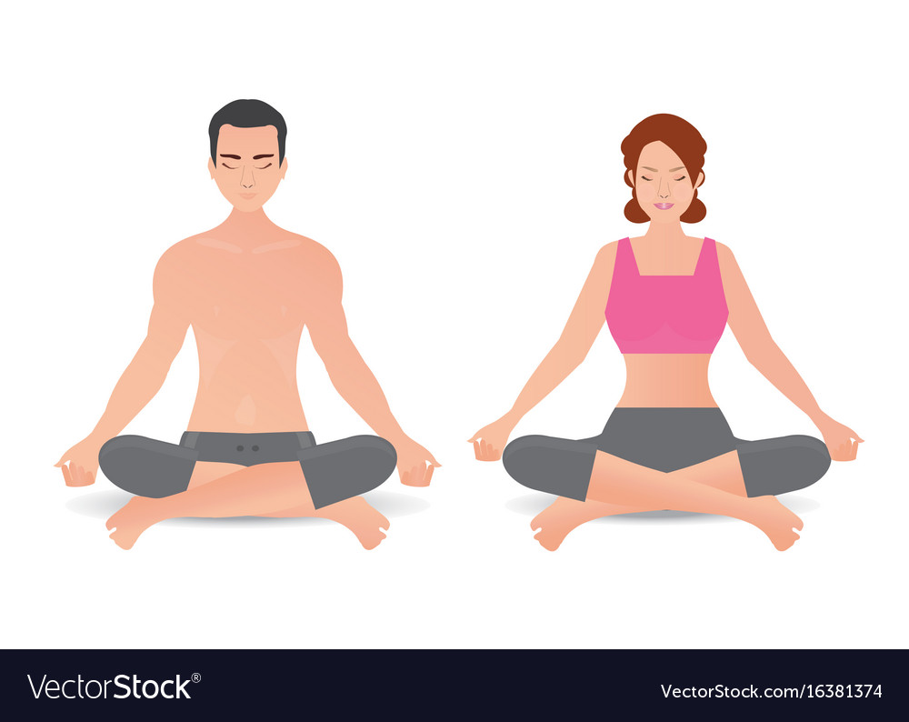 Calm woman and man are doing yoga and meditation
