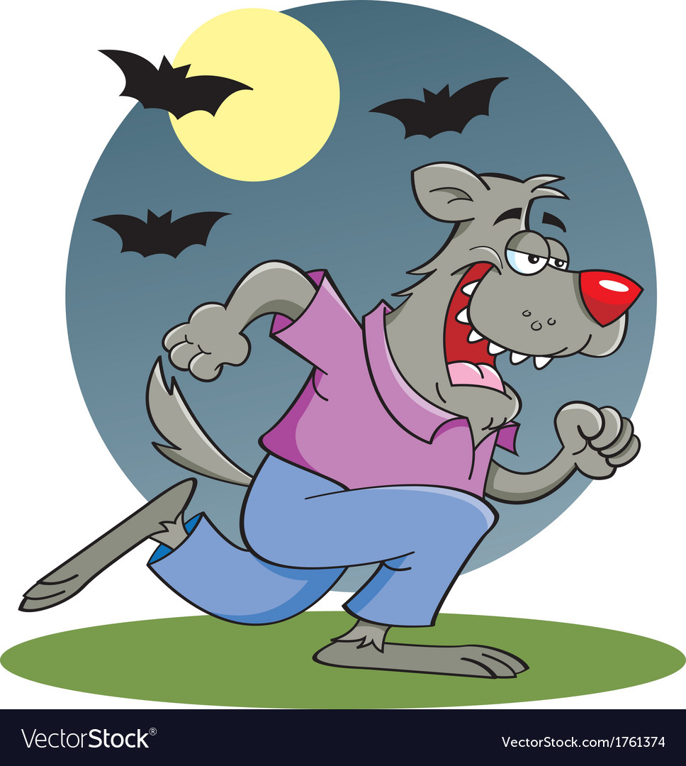 Cartoon Running Werewolf vector image