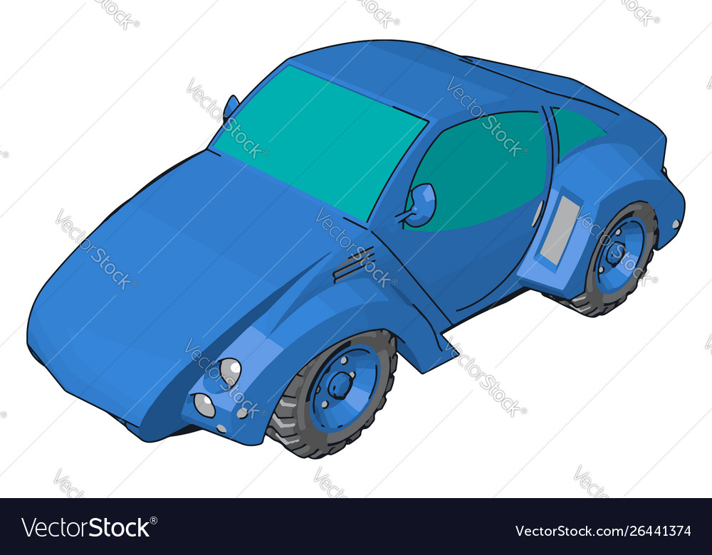 Cool blue car on white background