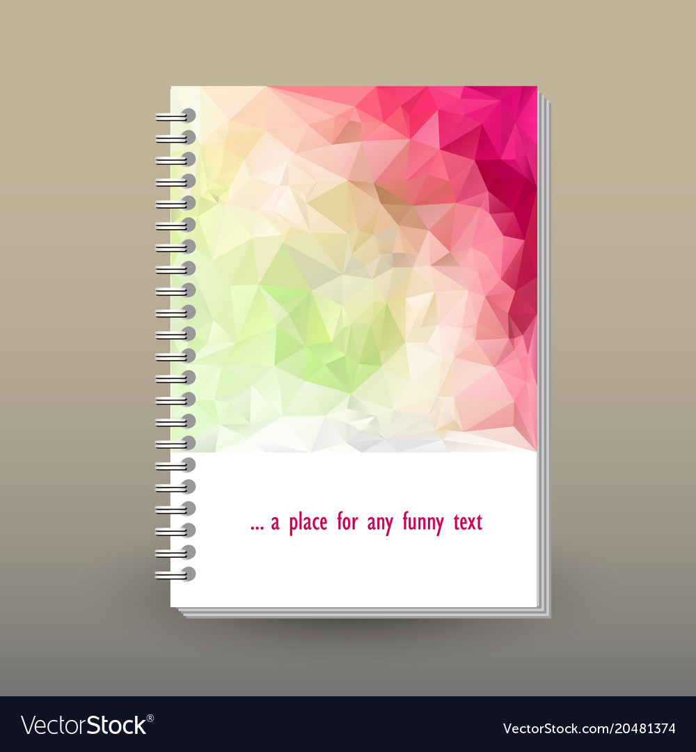 Cover of diary spring pink magenta green polygonal vector image