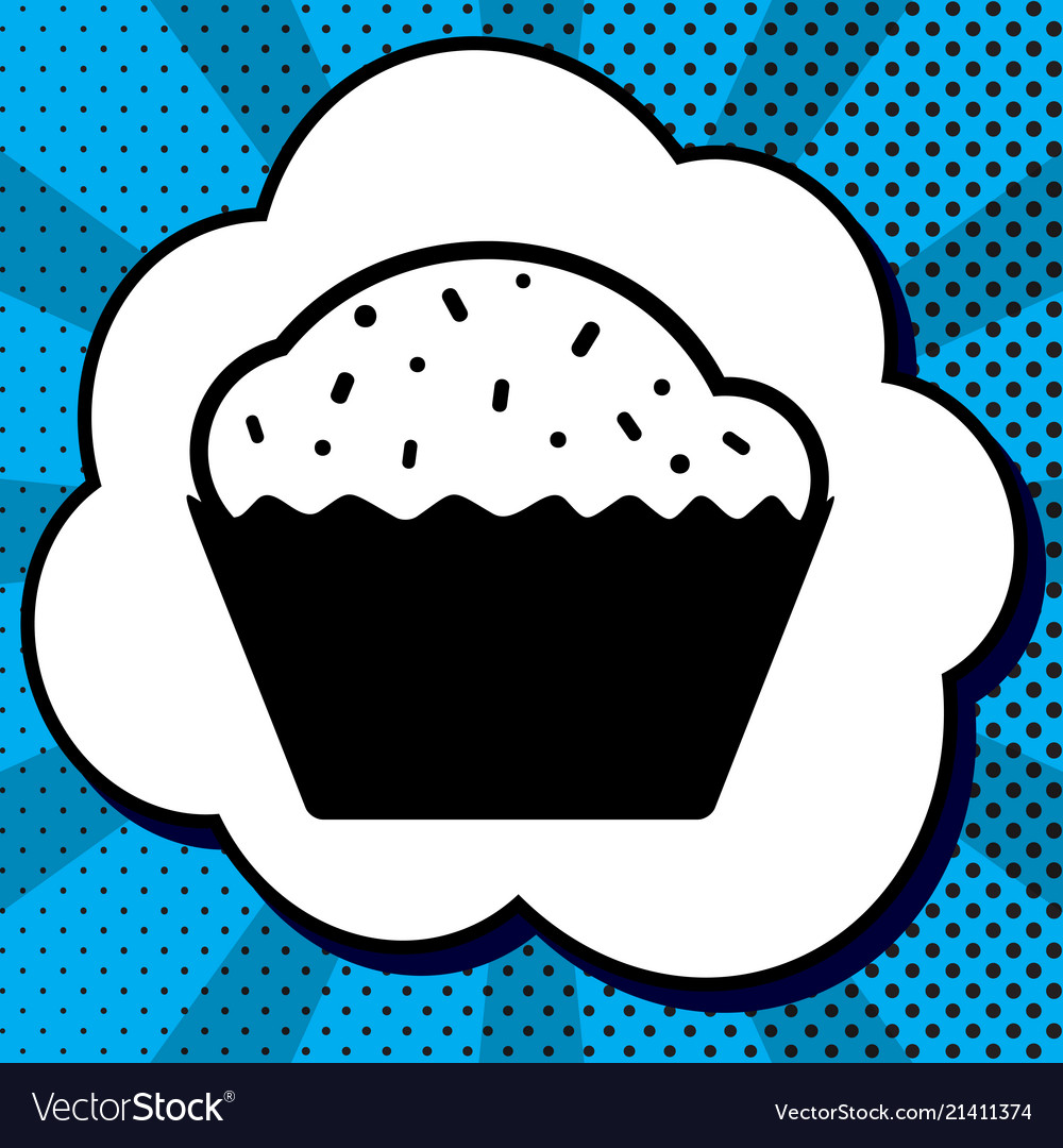 Cupcake sign black icon in bubble on blue