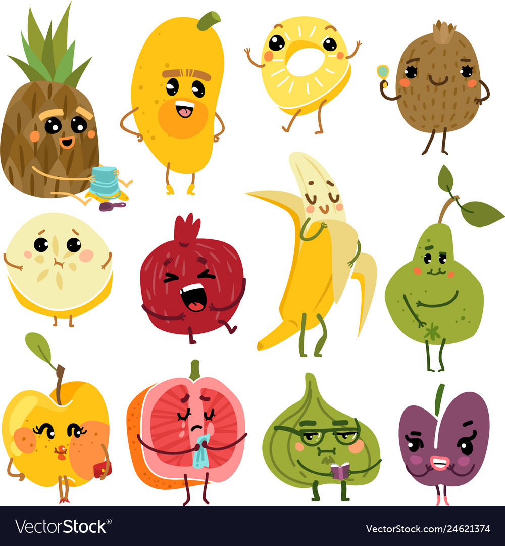 Cute fruits fruit funny characters pineapple