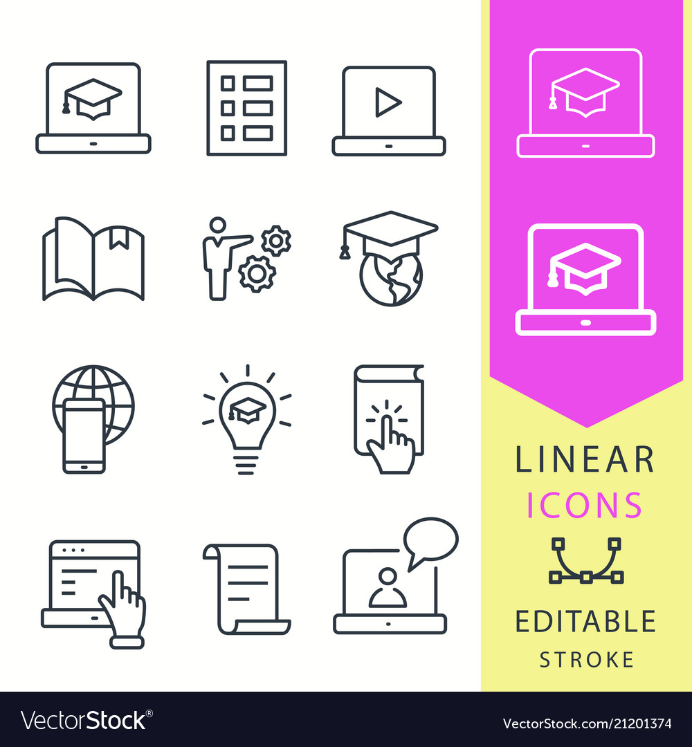 E-learning distance education icons set of