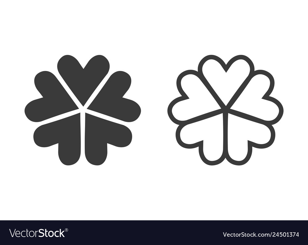 Five leaves clover icons