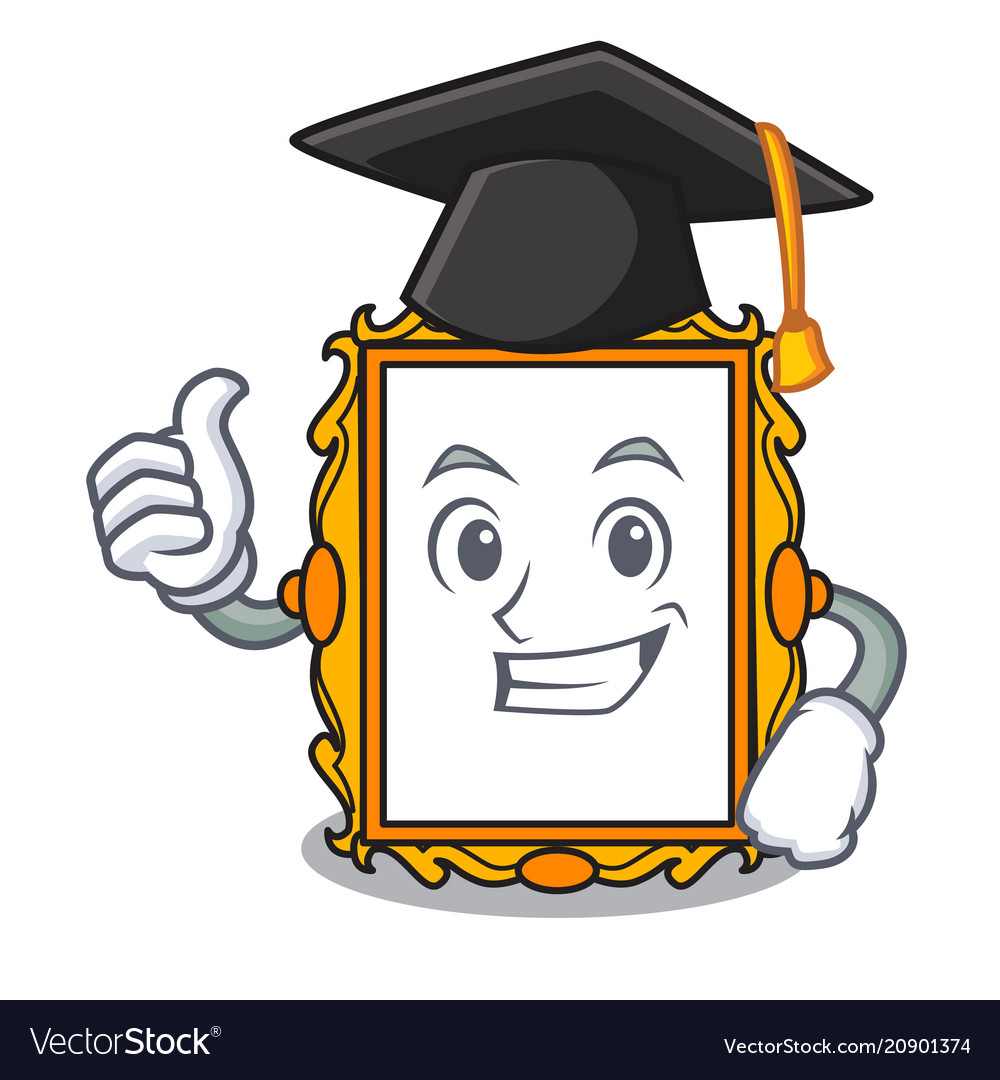 Graduation picture frame character cartoon Vector Image