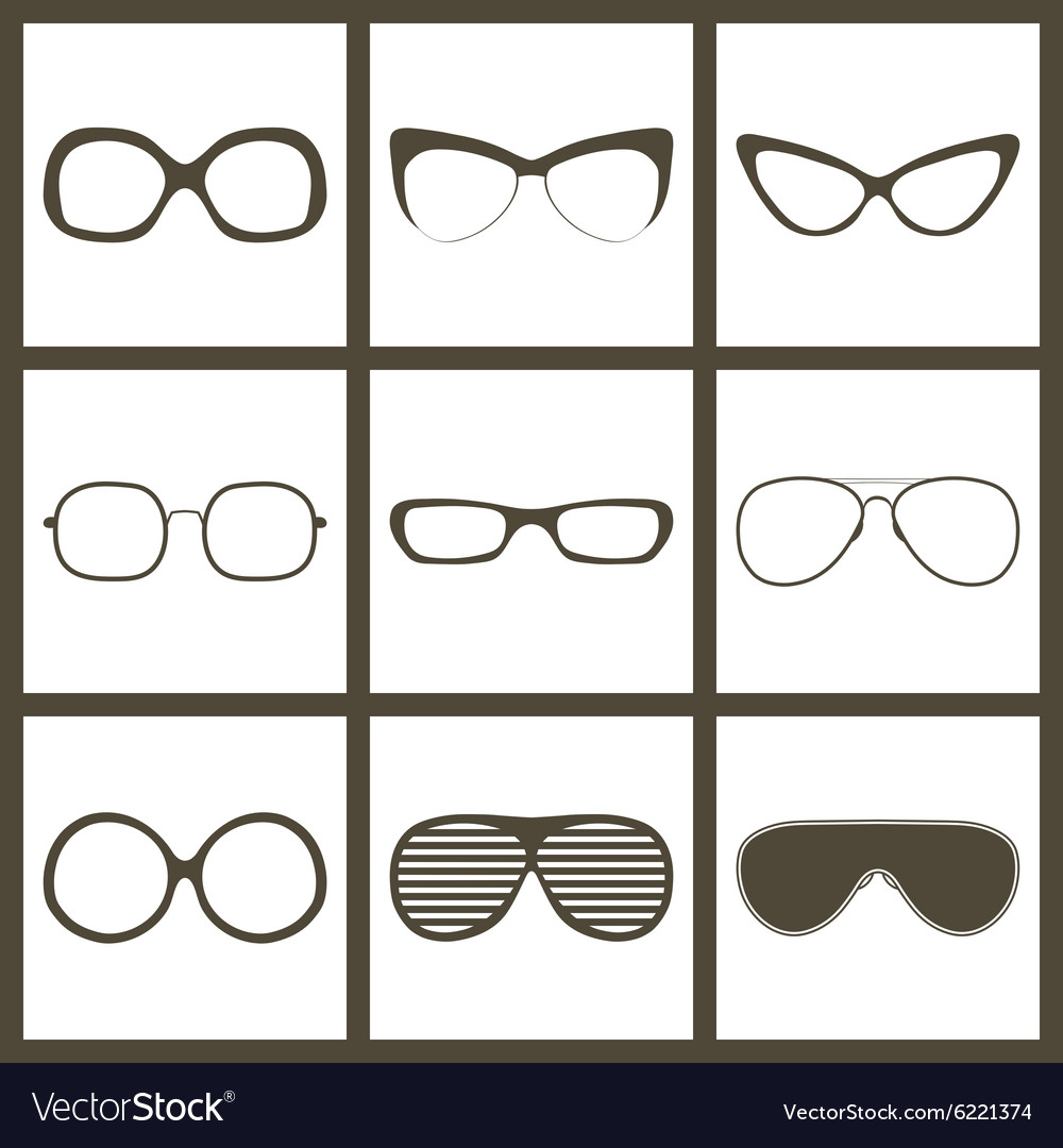 8a9aea5873 Hand drawn glasses frame set retro vintage vector image jpg 1000x1080 Glasses  frames vector