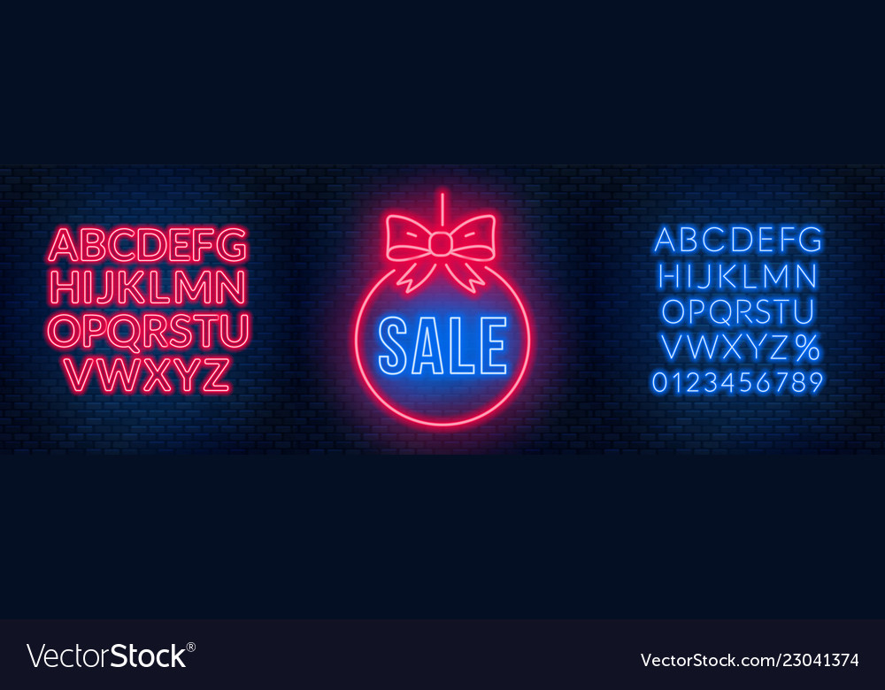 Neon Signs For Sale >> Sale Neon Signs And Fonts On A Dark Background Vector Image