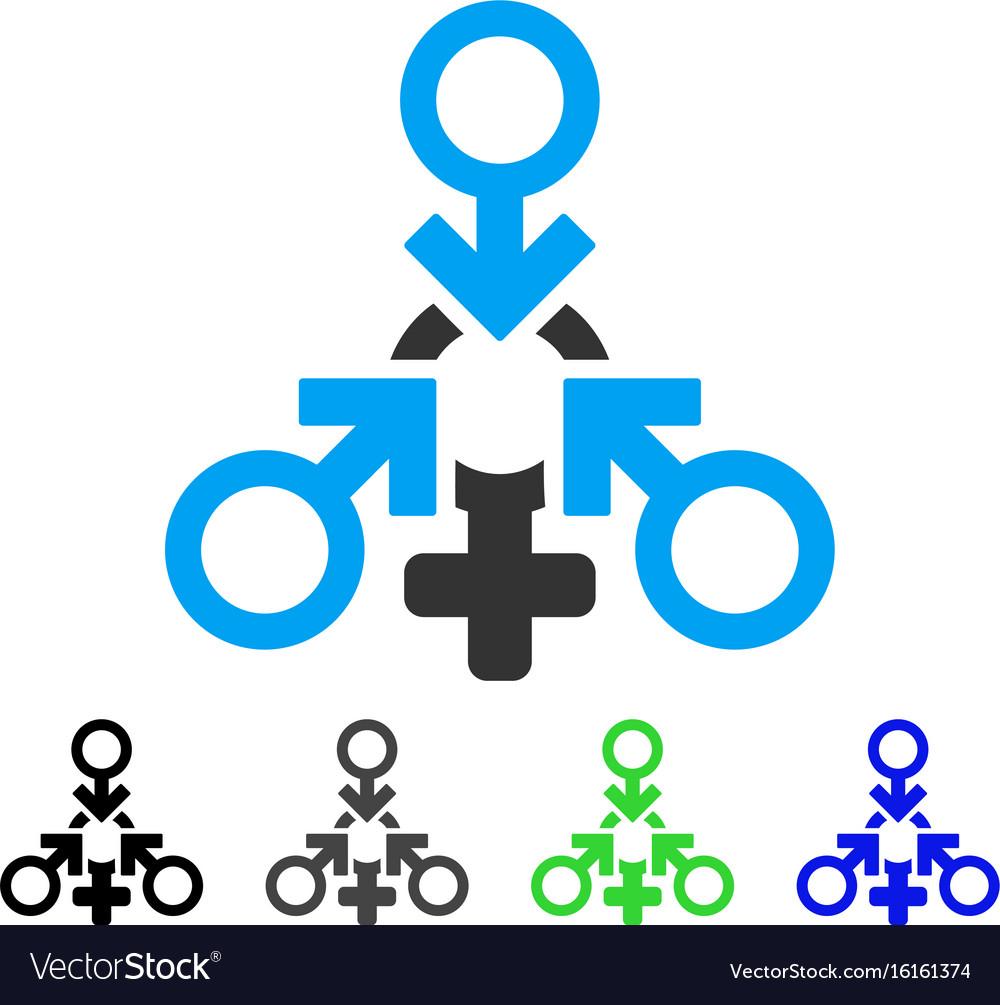 Triple penetration sex flat icon