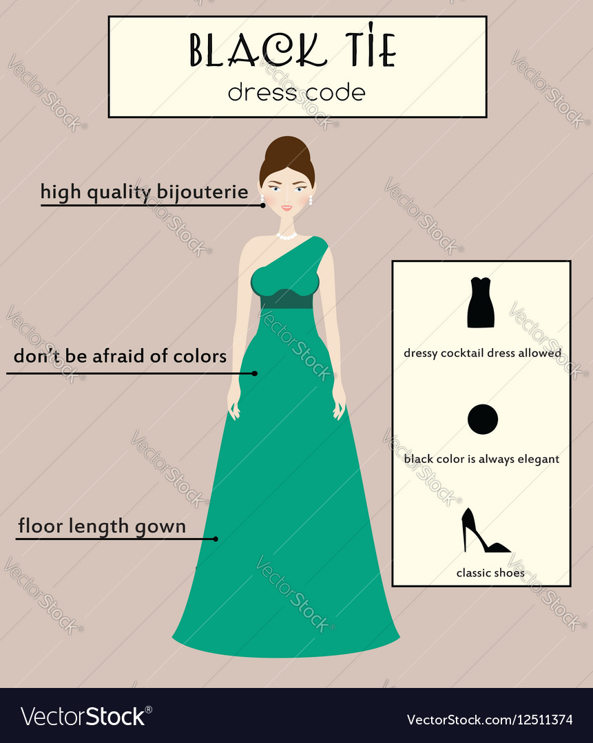 Woman dress code infographic Black tie Royalty Free Vector