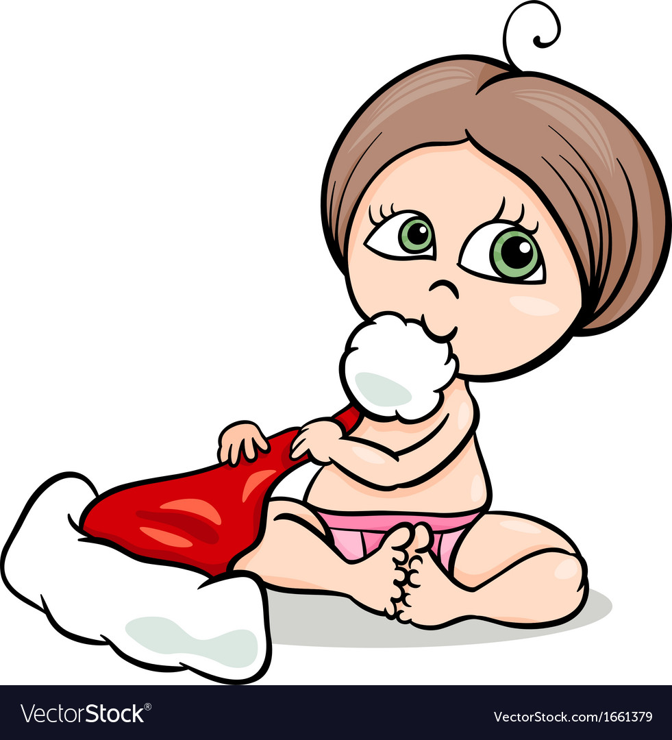 Baby girl with santa hat cartoon