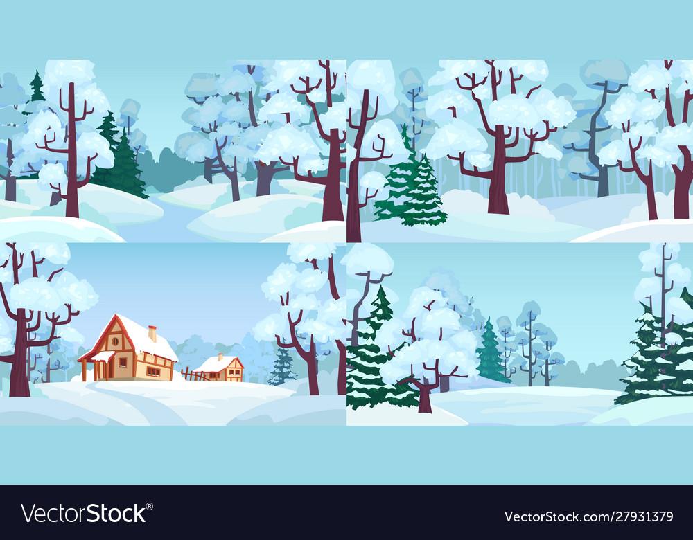 Cartoon winter forest landscapes village in woods