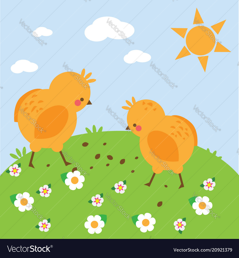 Chickens on meadow chikens on meadow simple