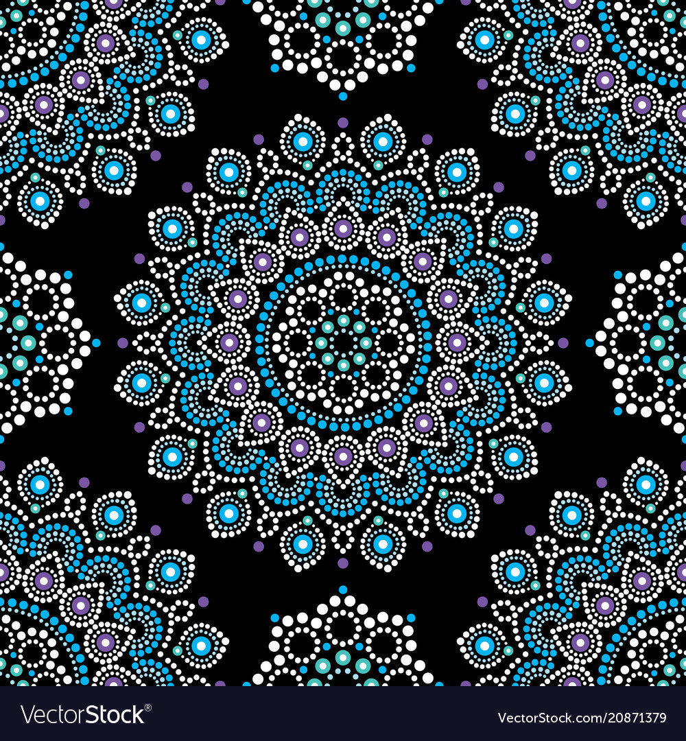 Dot painting seamless pattern with mandala vector image